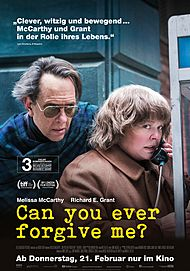 "Movie poster for ""CAN YOU EVER FORGIVE ME?"""
