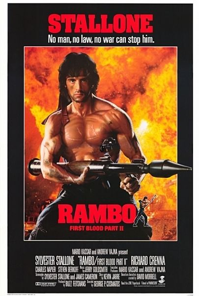 "Movie poster for ""RAMBO : FIRST BLOOD PART II"""
