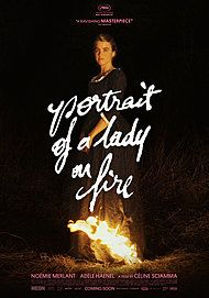 "Movie poster for ""PORTRAIT OF A LADY ON FIRE"""